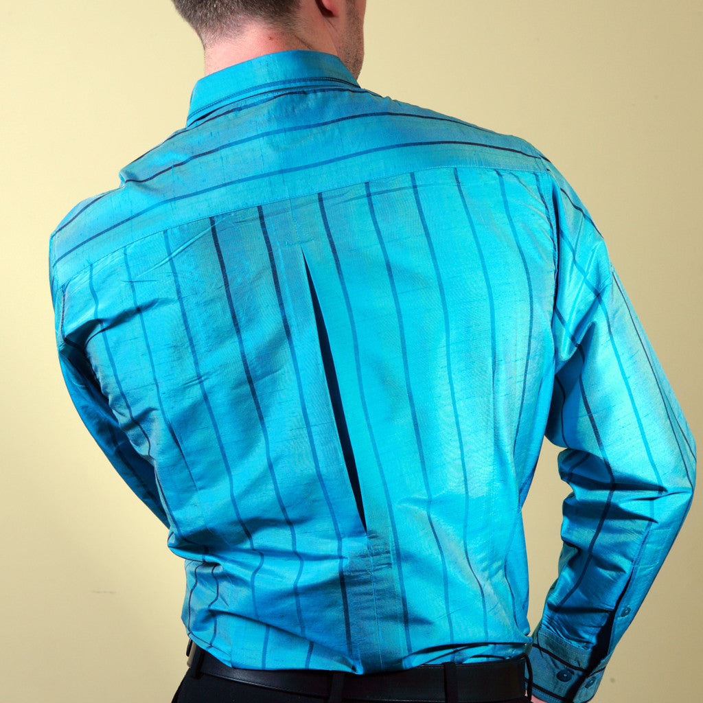 Jheel Blue Turq Striped Mens Silk Shirt - Shubrah