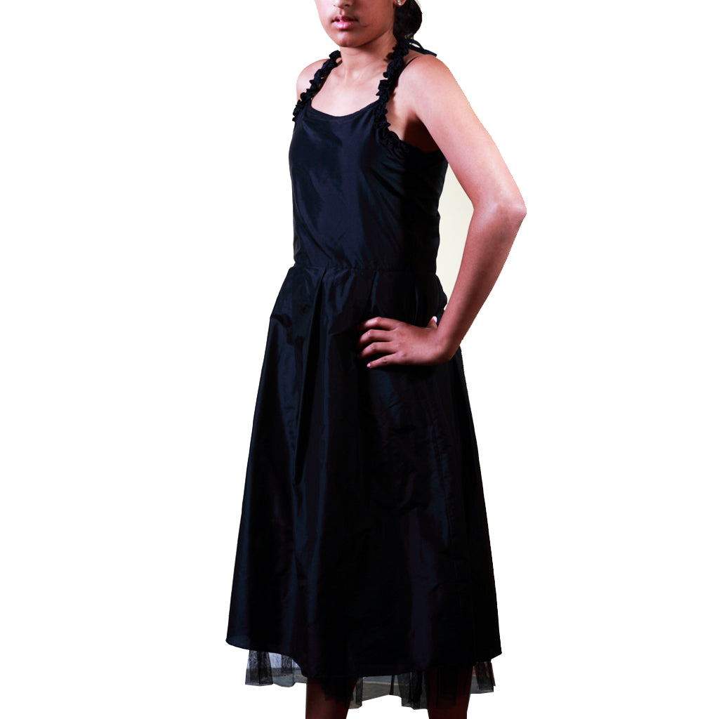 Indie Frock Black Silk Girls Party Dress - Shubrah