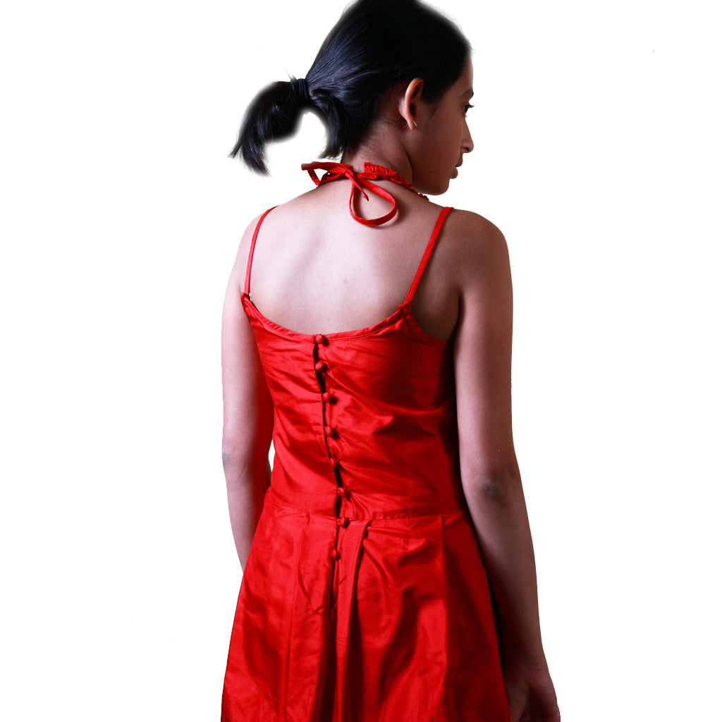 Indie Frock Red Silk Girls Party Dress - Shubrah