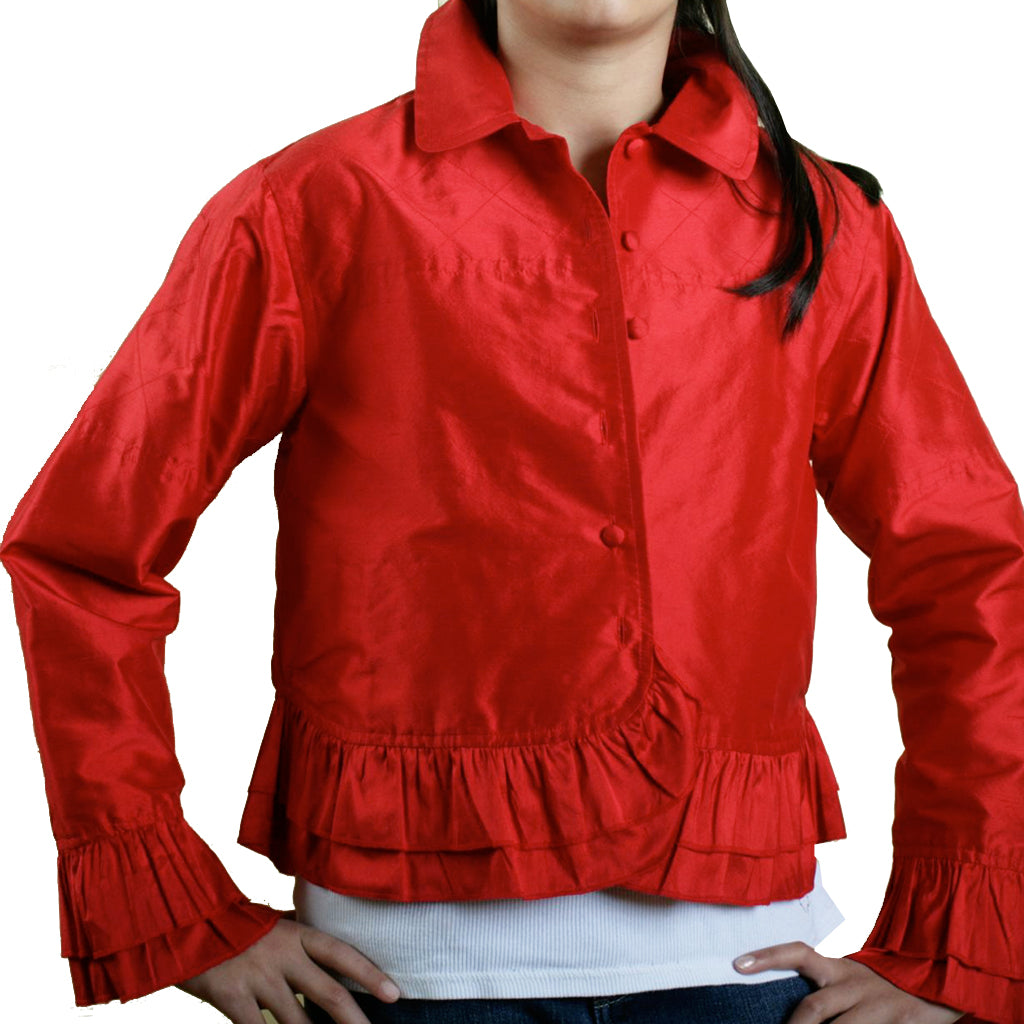 LAL Red Girls Silk Cropped Jacket - Shubrah
