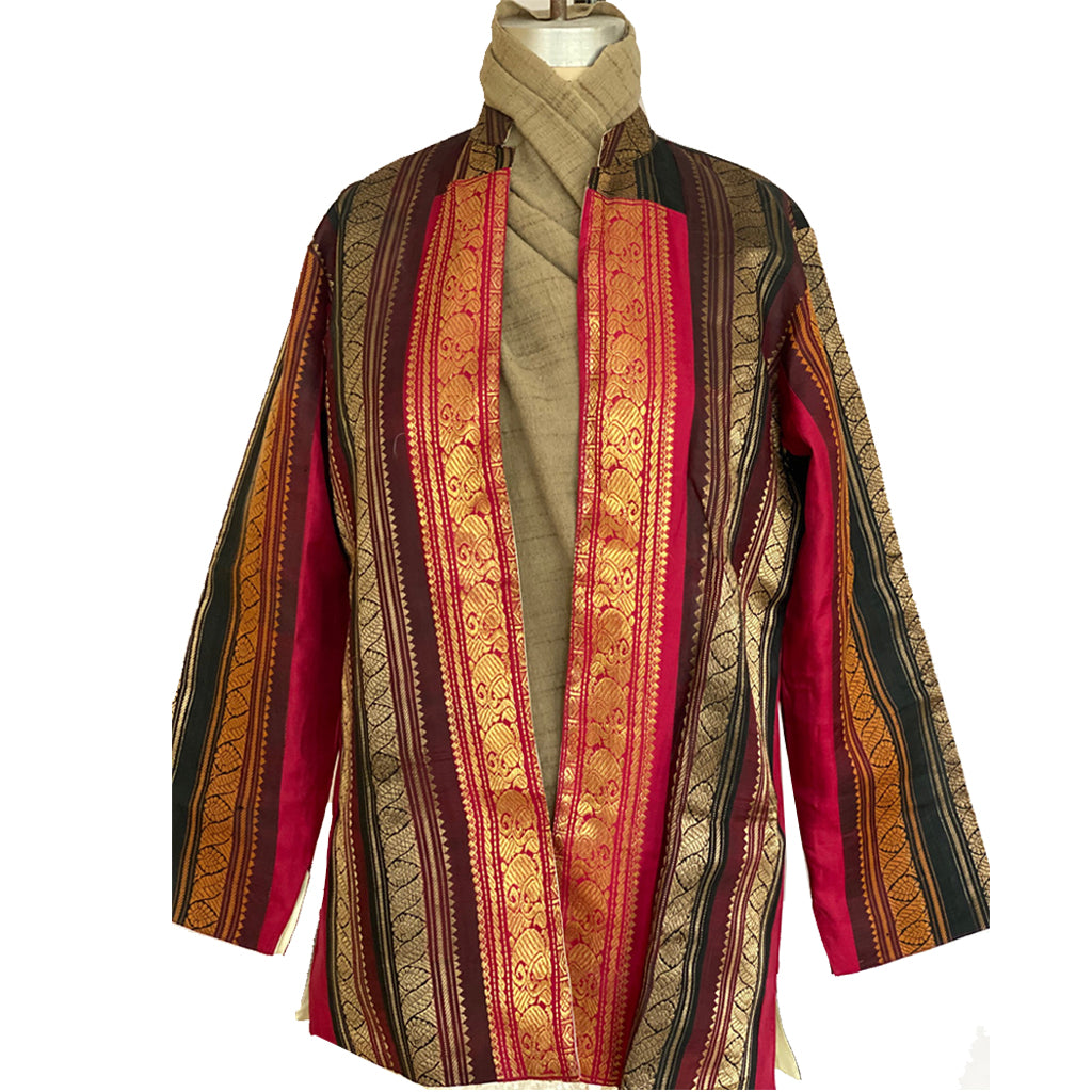 Lal Zari Jacket with Sari Borders