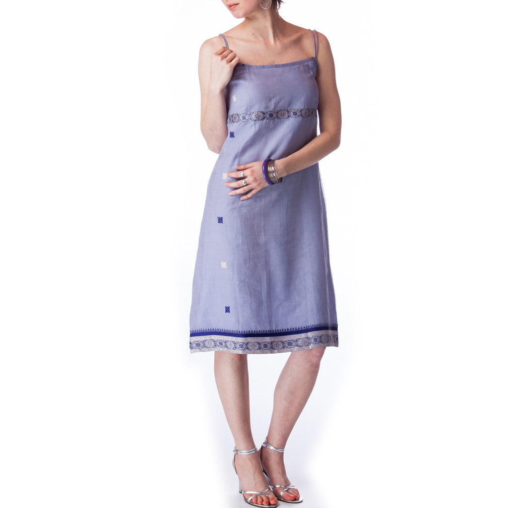 Lavender Upcycled Sari Summer Dress - Shubrah