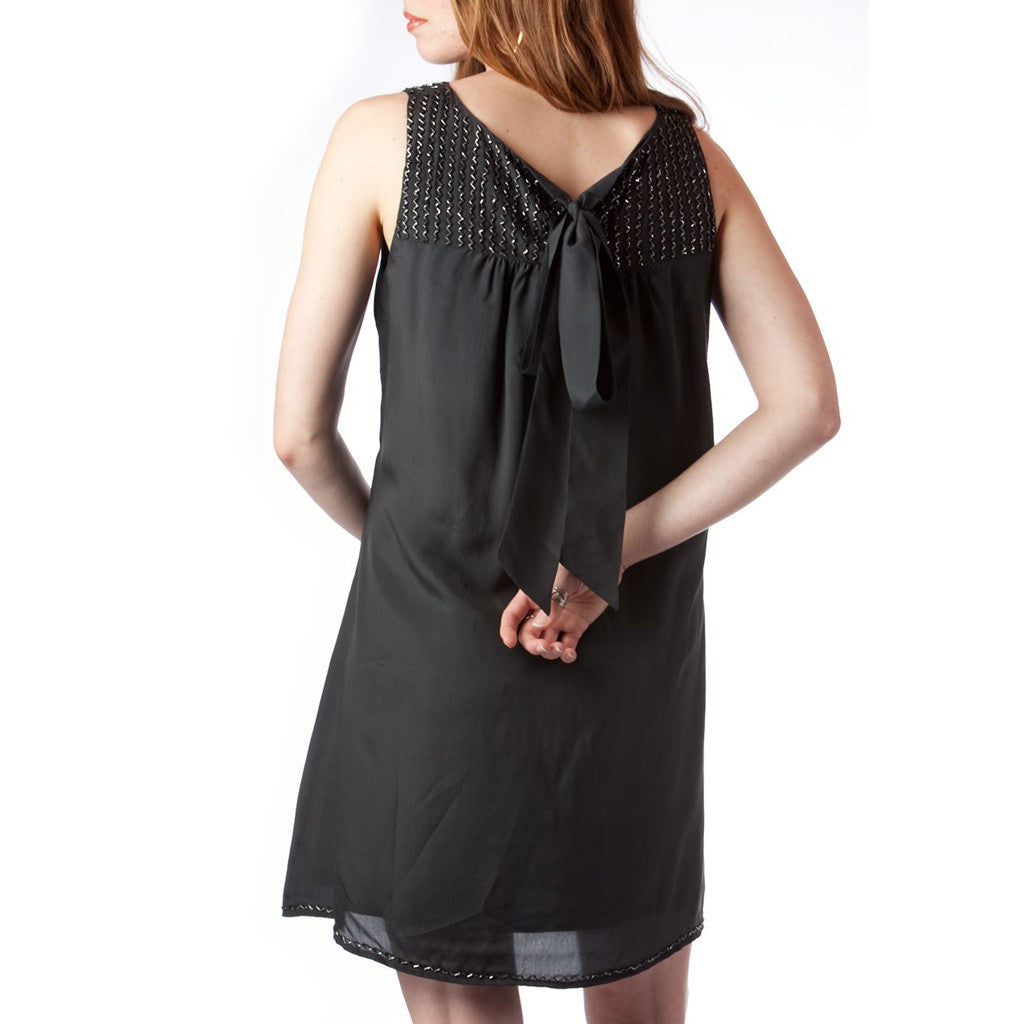 Little Black Bugle Beaded Silk Dress - Shubrah