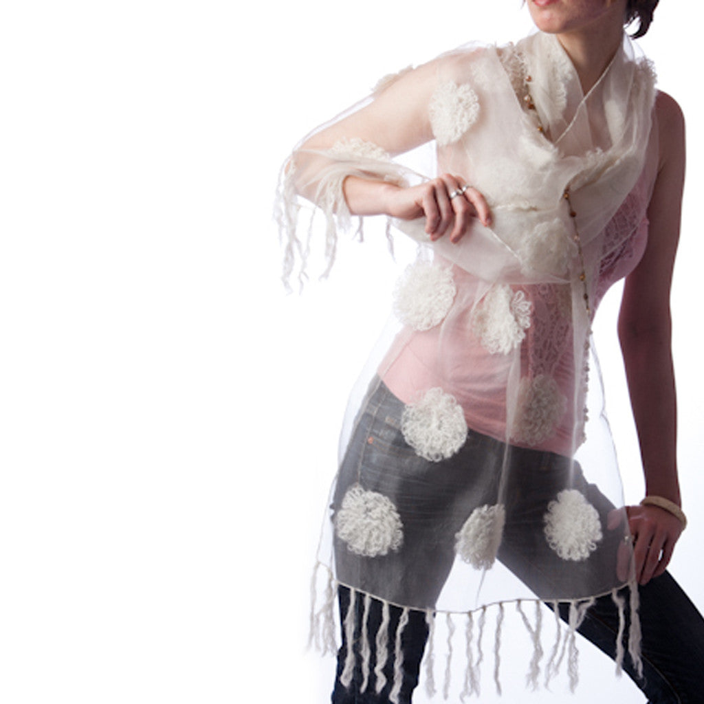 Mogra White Silk Scarf with wool floral flowers - Shubrah