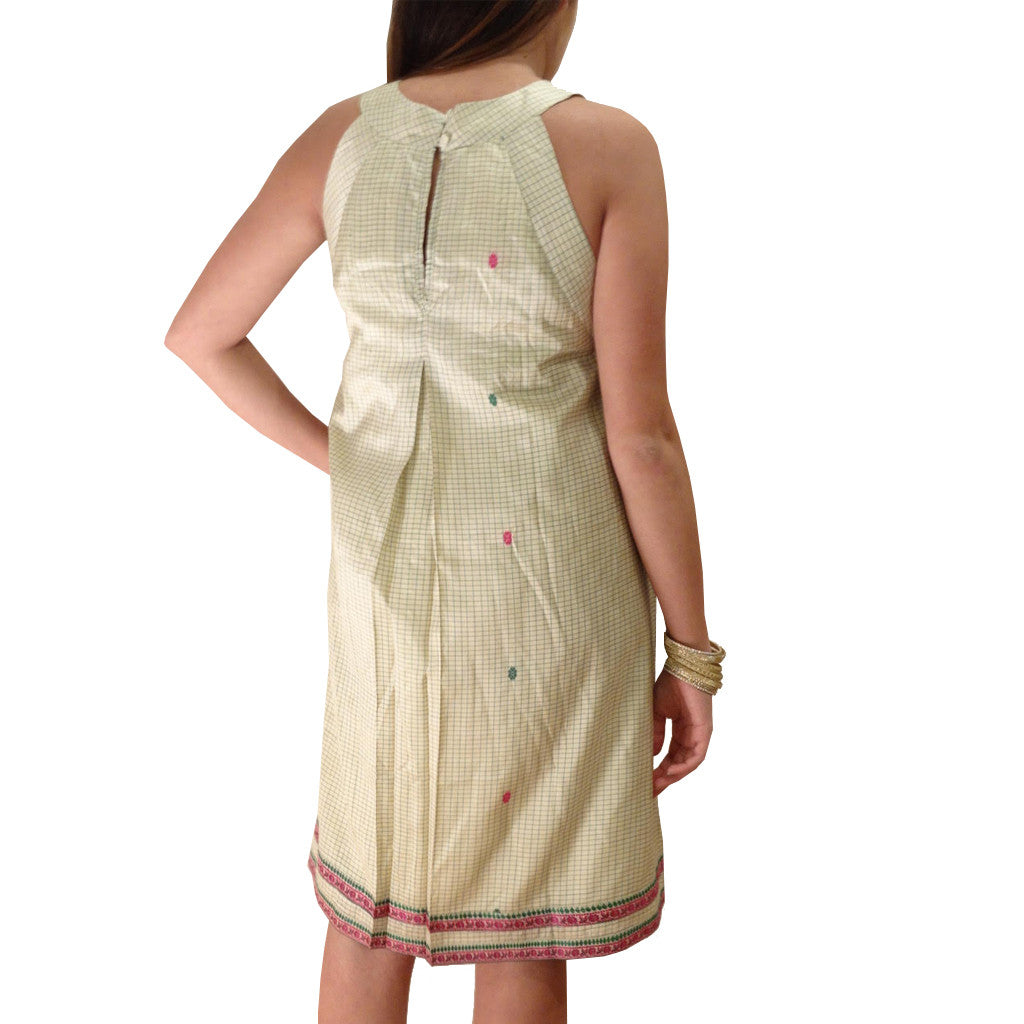 Morning Glory Cream Sleeveless Silk Dress - Shubrah