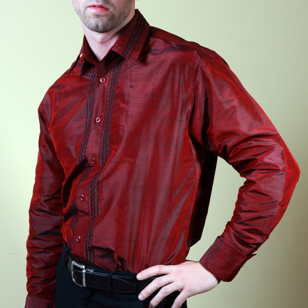 Nawab Red Embroidered Mens Silk Shirt - Shubrah