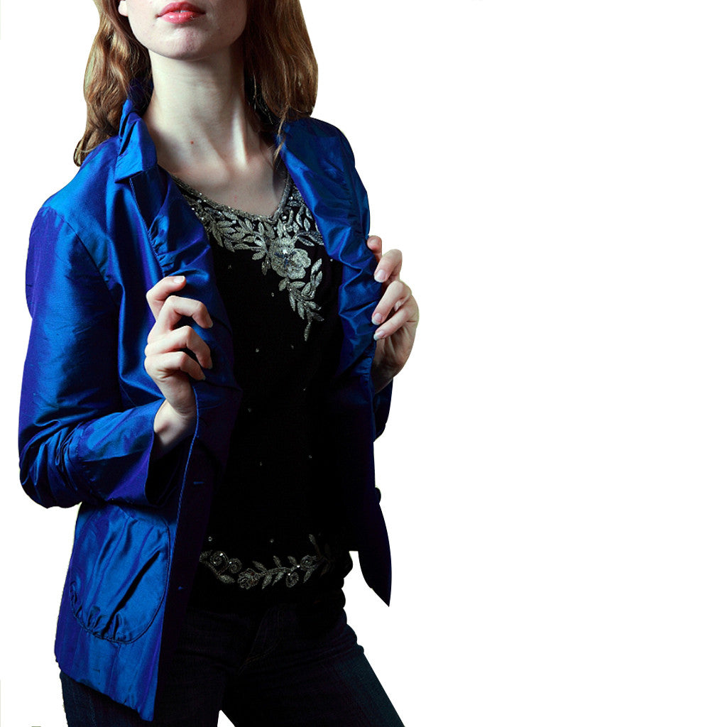 Peacock Blue Crop Silk Jacket - Shubrah