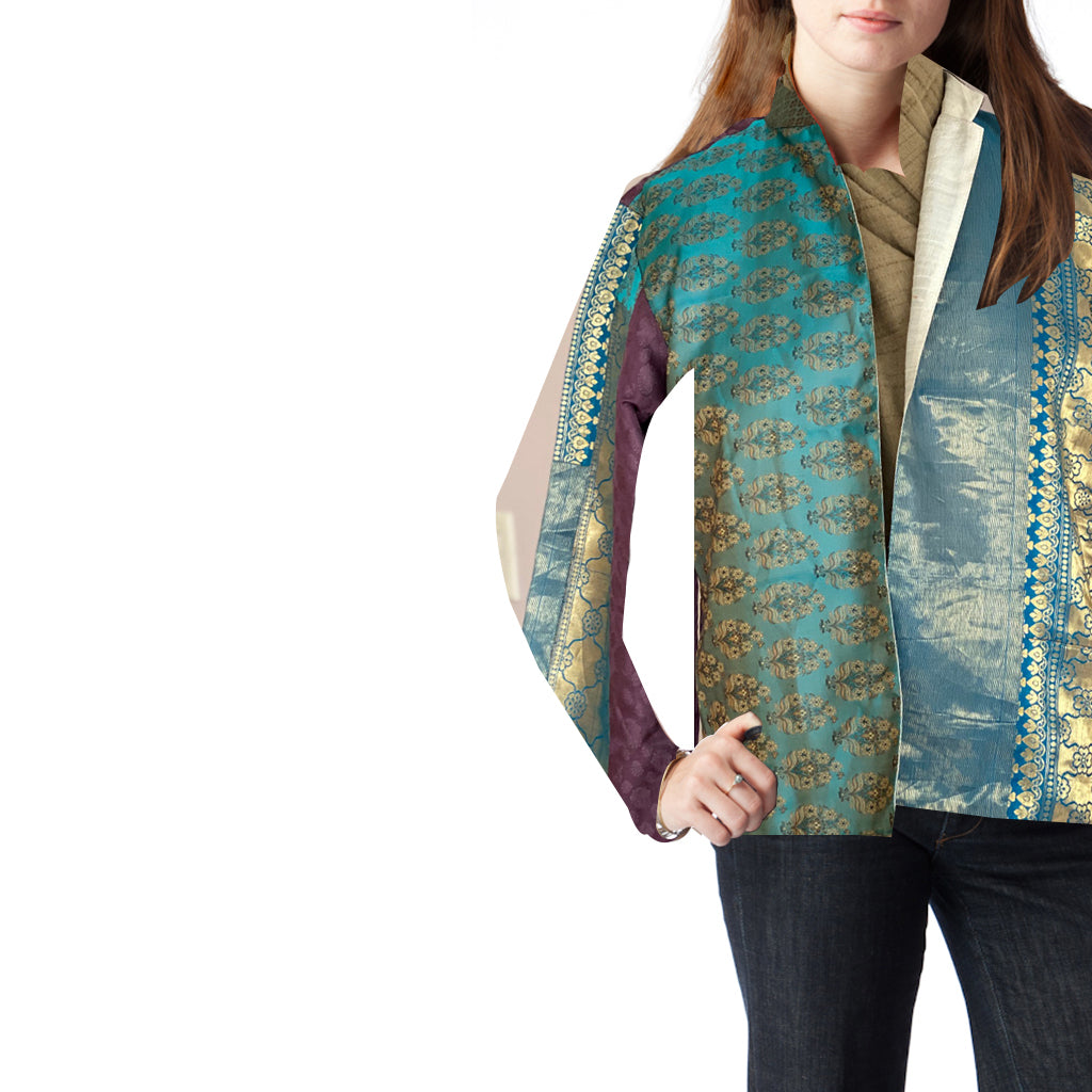 Peacock Upcycled Zari Jacket, Cropped