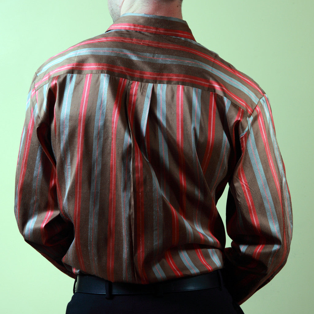 Red Fort Striped Mens Silk Shirt - Shubrah