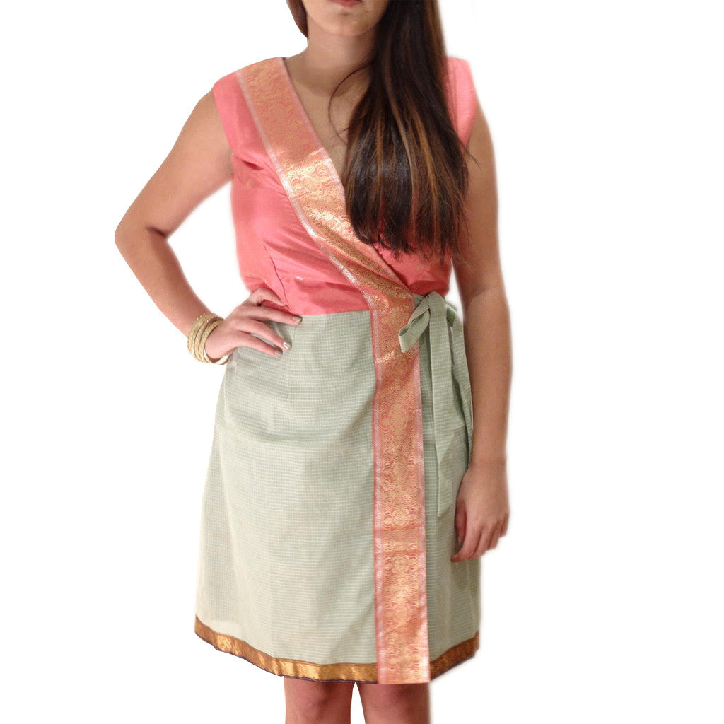 Rose Sea Foam Silk Wrap Dress - Shubrah