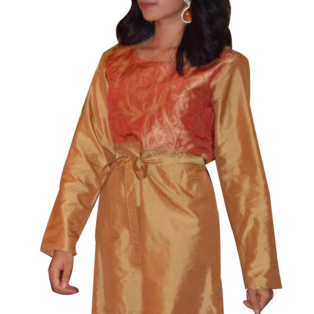 Sand Henna Silk Kurta Dress - Shubrah