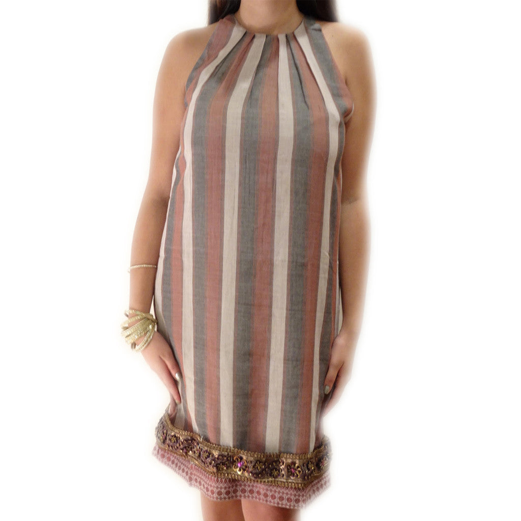 Sand Stone Stripe Pleated Neck Sleeveless Dress - Shubrah