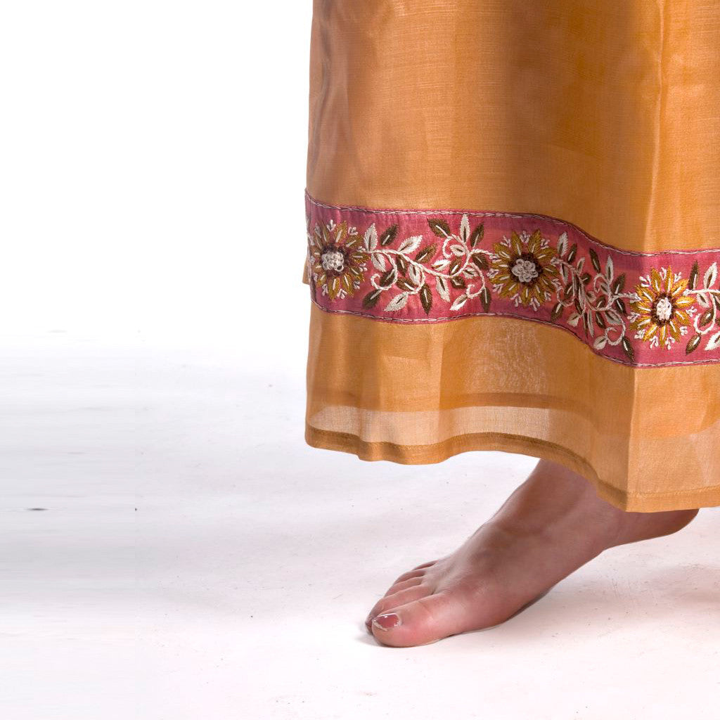 Savan Long Honey Silk Embroidered Skirt - Shubrah
