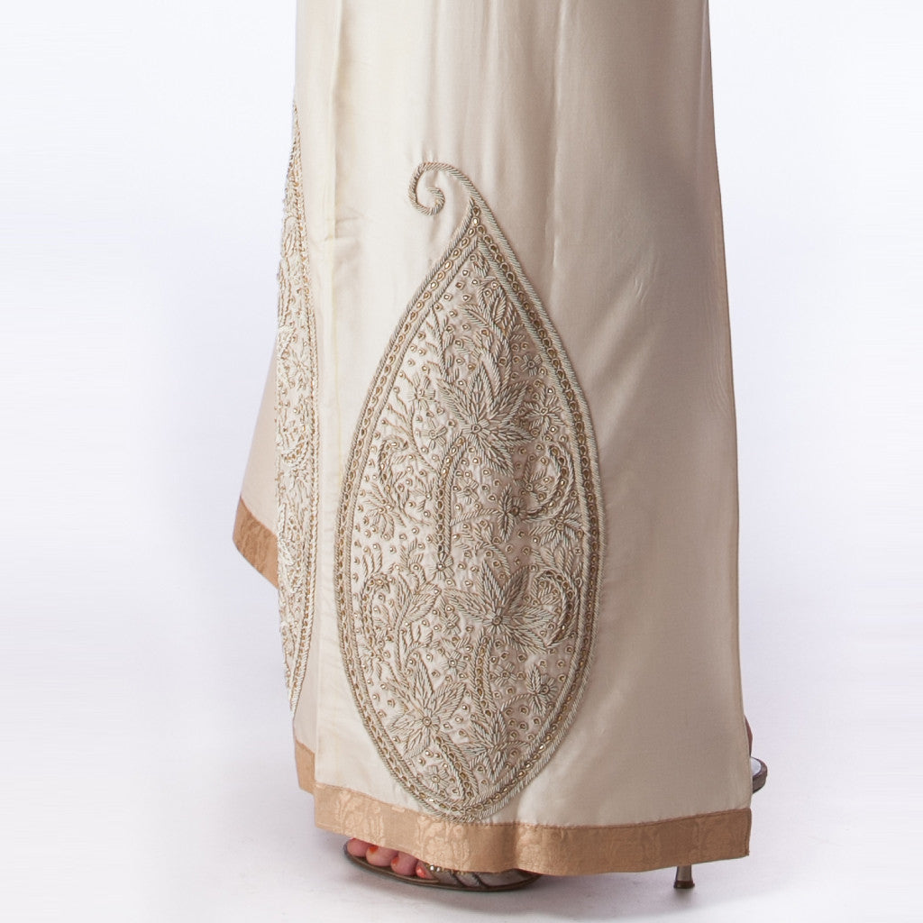 Sona Ambi Cream Silk Bridal Dress with Gold Embroidery - Shubrah