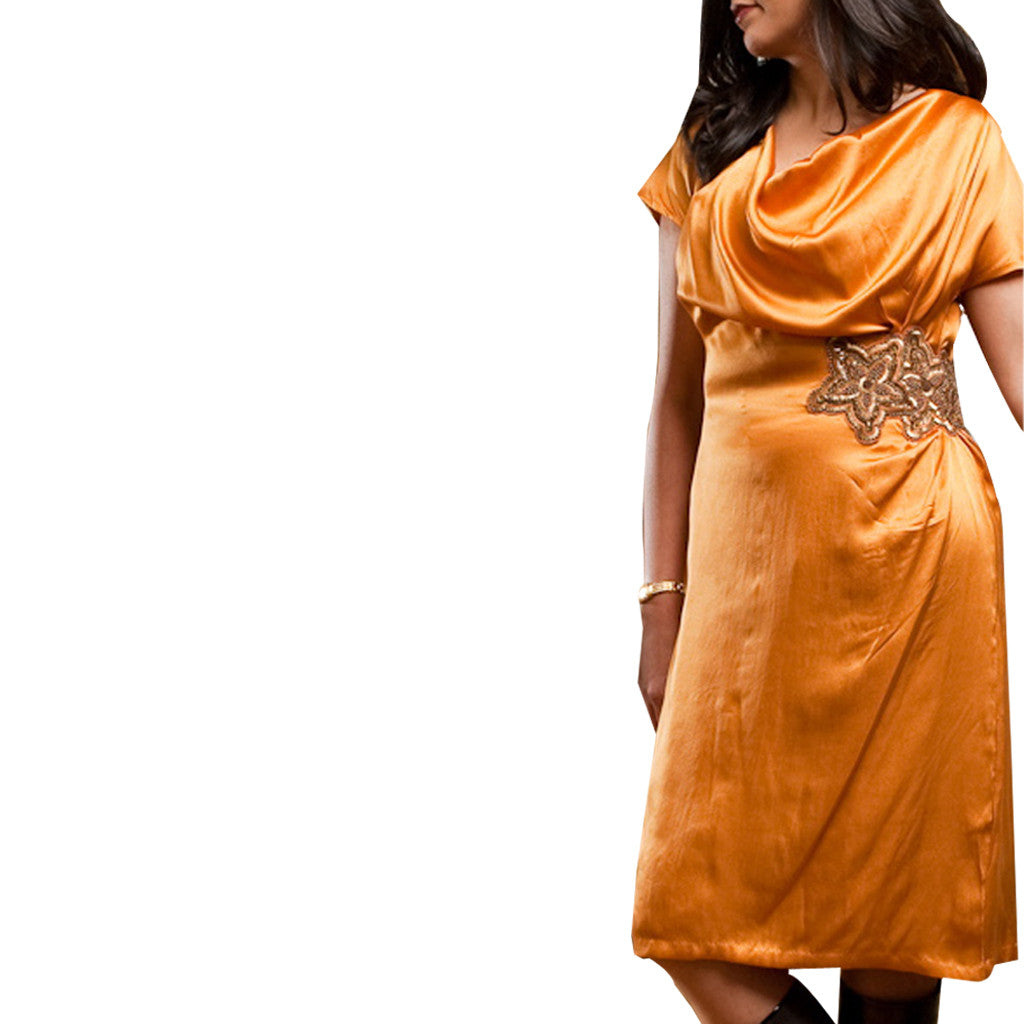 Spice Root Golden Cowl Neck Silk Dress - Shubrah