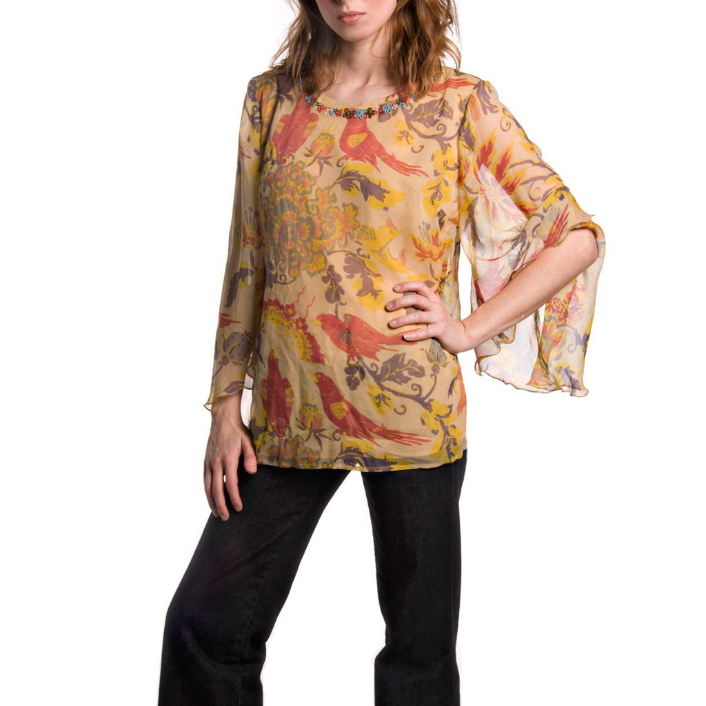 Spice Route Yellow Printed & Embroidered Silk Tunic - Shubrah