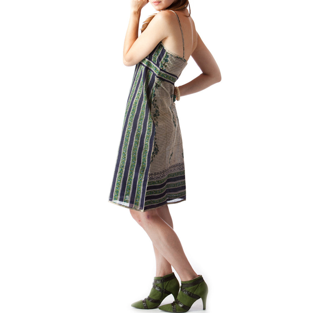 Tea Garden Upcycled Sari Cotton Summer Dress - Shubrah