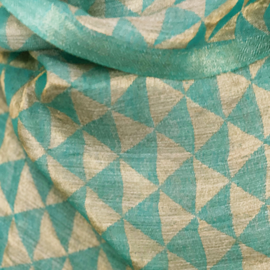 Teal and Gold Triangle Jacquard Woven Pashmina Stole