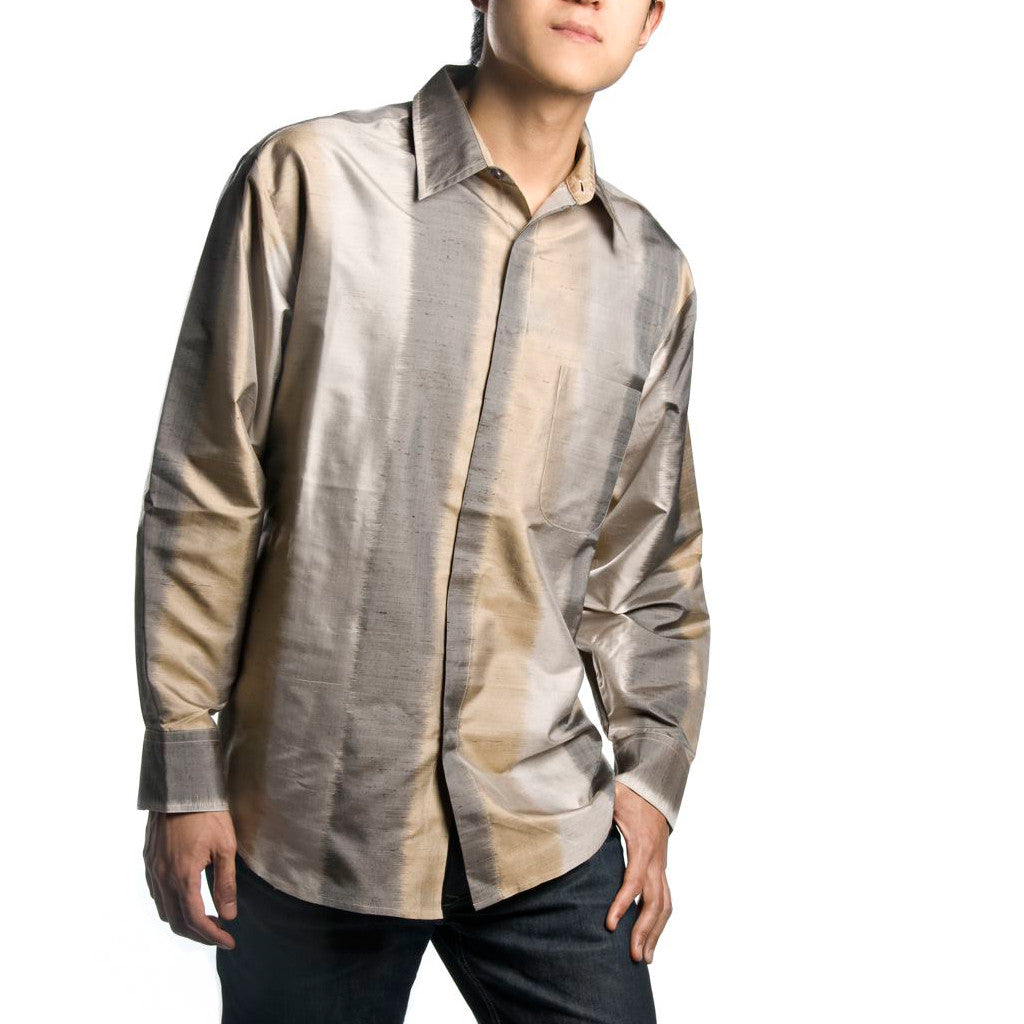 Thanda Ikat Ombre Silk Mens Shirt - Shubrah