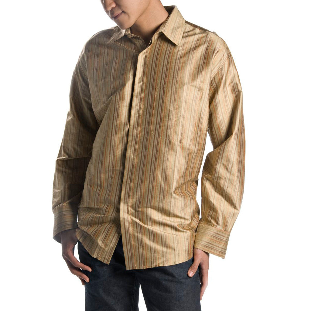 Thar Tan Striped Mens Silk Shirt - Shubrah