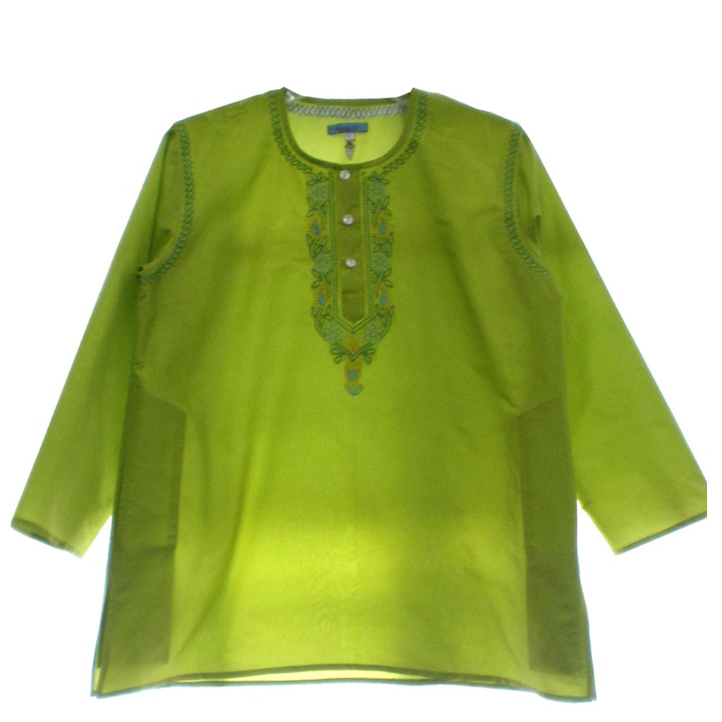 Green Silk Kids' Kurta Shirt - Shubrah