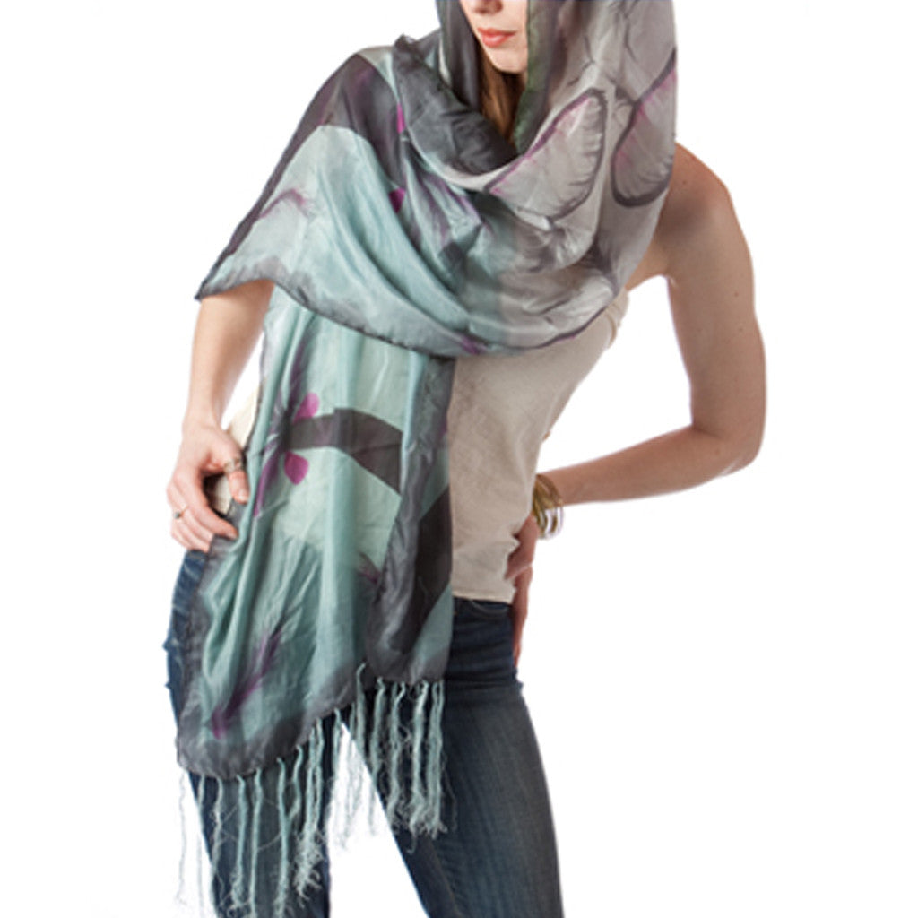 Water Lilies Hand Painted Silk Scarf - Shubrah