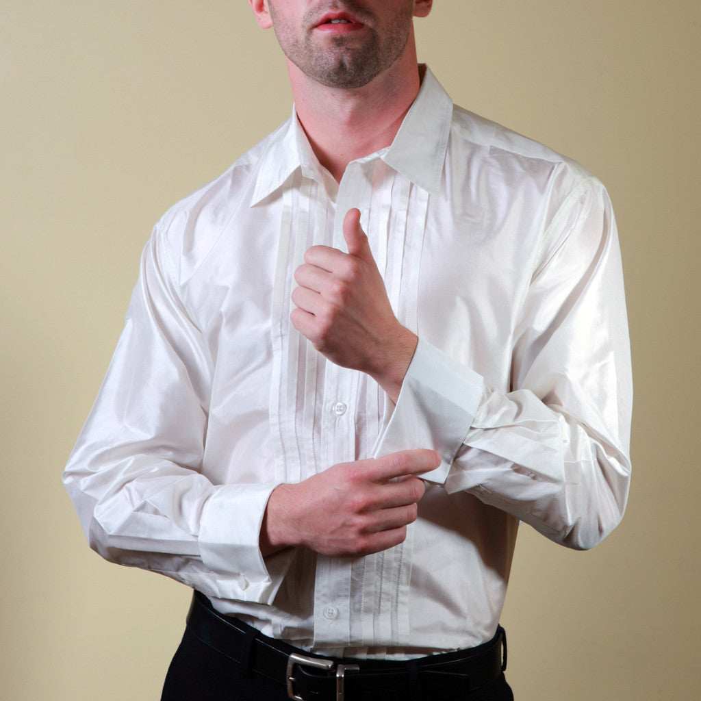 New Year's Eve  White Tuxedo French Cuff Silk Shirt - Shubrah