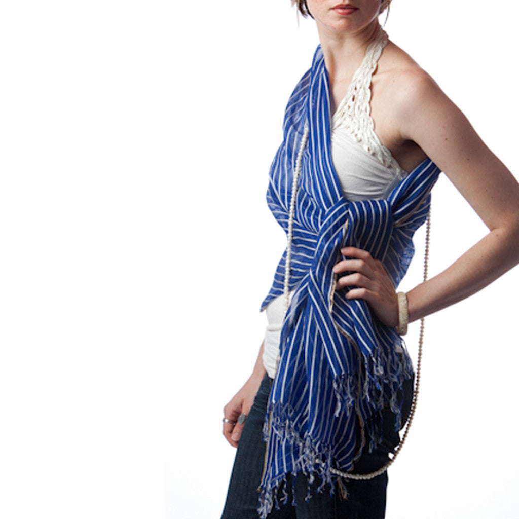 Yatch Blue Stripe Silk Scarf - Shubrah