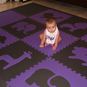 SoftTiles Custom Safari Animals Purple and Gray Foam Play Mat- D143