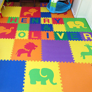 Personalized Baby Play Mats - Alphabet Mats with Safari Animals- D145