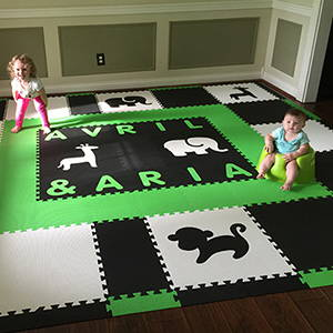 Stylish SoftTiles Safari Playroom with Black and White Animals and Lime Alphabet- D155