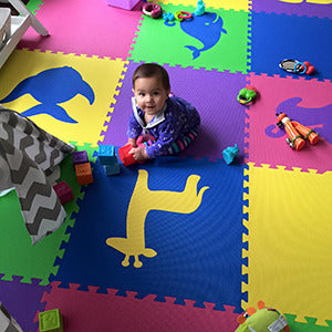 Colorful Girl's Playroom Floor using Mixed SoftTiles Die-Cut Shapes- D188