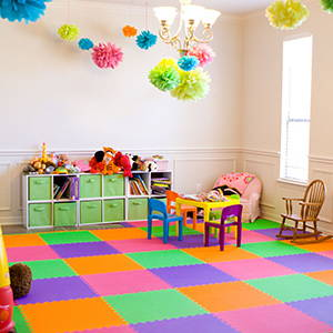 Bright Colorful Playroom using SoftTiles Lime, Pink, Purple, and Orange Foam Mats- D102