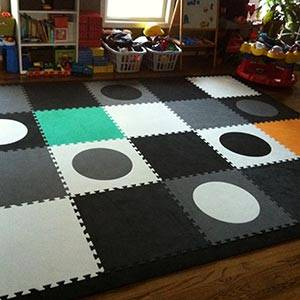Accent your Playroom Floor With SoftTiles Circles in Black, Gray, and White- D117
