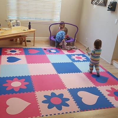 Girl's Playroom Floor with SoftTiles Hearts and Flowers in Blue and Pink- D201