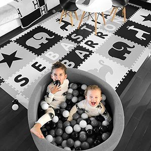 Eye-catching Personalized Playroom- Black, Light Gray, White D196