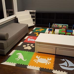 Mix different SoftTiles shapes to create a fun unique playroom floor- D185