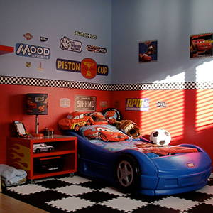 Racing Theme Bedroom | Finish Line Checkered Flag Playroom Flooring