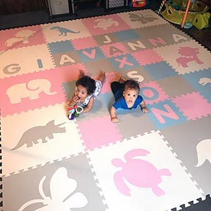 Pastel Colored Children's Playroom Play Mat Personalized with Two Names- D190