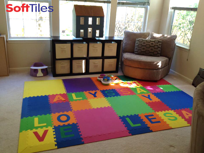 SoftTiles Playroom with custom name alphabet foam mats