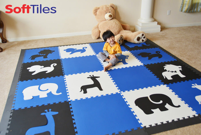 SoftTiles Safari Animals Blue, White, and Black