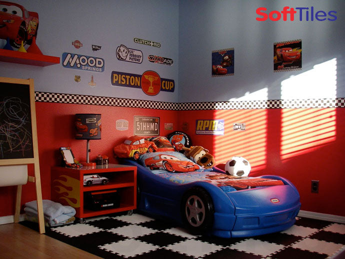Racing Bedroom with SoftTiles Checkerboard Foam Mats