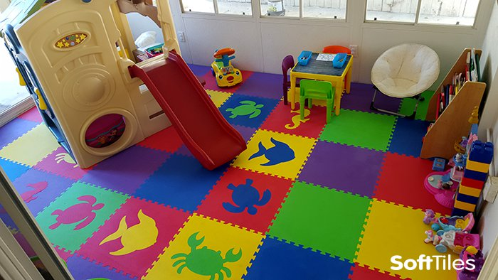 Puzzle foam play mat puzzle mat floor softtiles for Mats for kids room