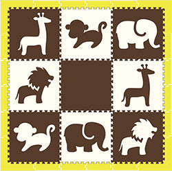 SoftTiles Brown and White Safari Animals Play Mat