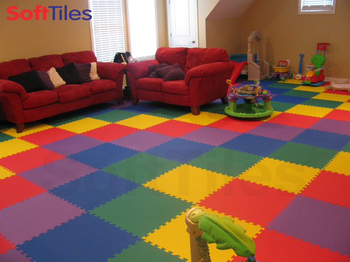 Rainbow playmat play foam mat softtiles for Playroom floor ideas