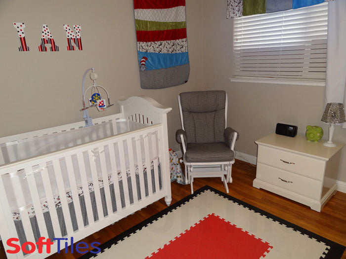 Decorating Nursery with SoftTiles Red and White Mats