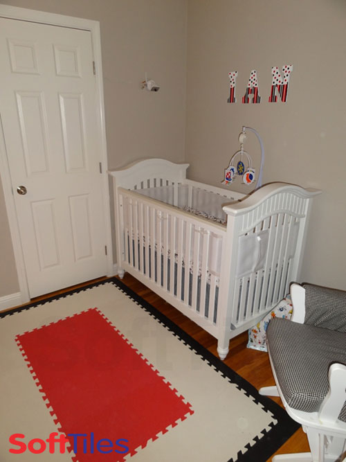 Decorating Nursery using SoftTiles Red and White Mats