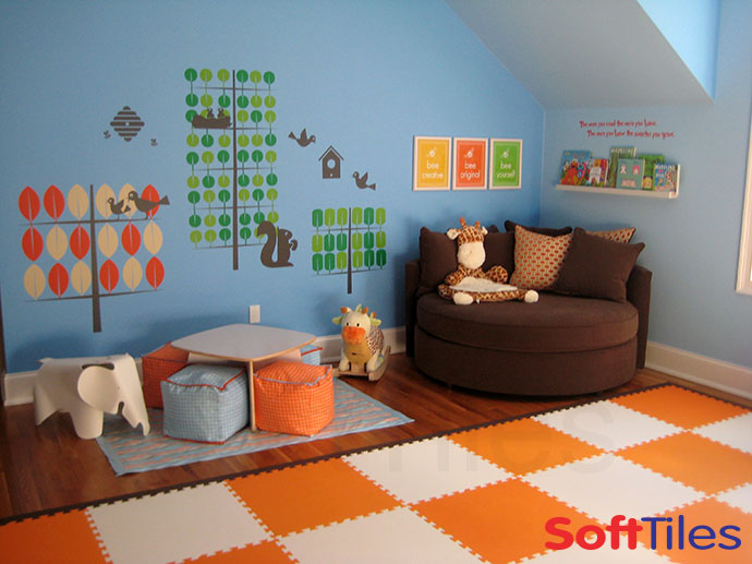 SoftTiles Playroom Floor using Orange and White SoftTiles