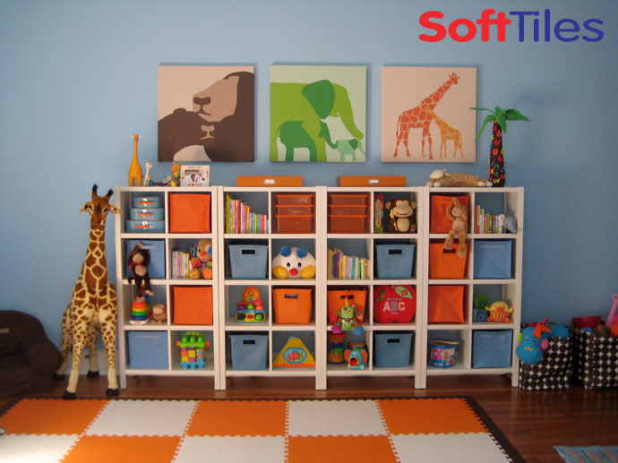 Interlocking Play Mats using Orange and White SoftTiles