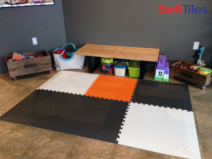 SoftTiles for Small Spaces, Gray, Orange, and White Playroom